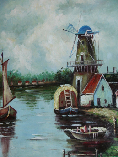 Beautiful painting on canvas, stretched but without frame, signed by Rene.  On a cloudy day, sailboats float in a small harbor near a windmill.
