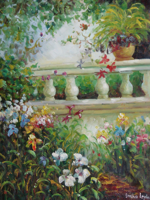 Beautiful medium sized painting on canvas, stretched but without frame, signed by Sandra Lepine.  White, yellow and blue lilies grow near a white, columned balcony covered with green ivy.