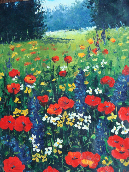 Beautiful painting on canvas, stretched but without frame, signed by Rene.  Red poppies grow in a green field with blue, yellow and white wildflowers.