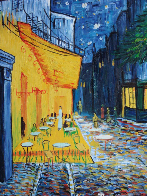 Beautiful painting on canvas, stretched but without frame, signed by Aryloat.  A cafe accented in yellow stands out in the dark starry night against deep blues and blacks.
