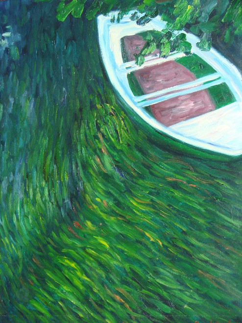 Beautiful painting on canvas, stretched but without frame, signed by Sandra Lepine.  A white and brown rowboat floats in an abstract river of green and blue.