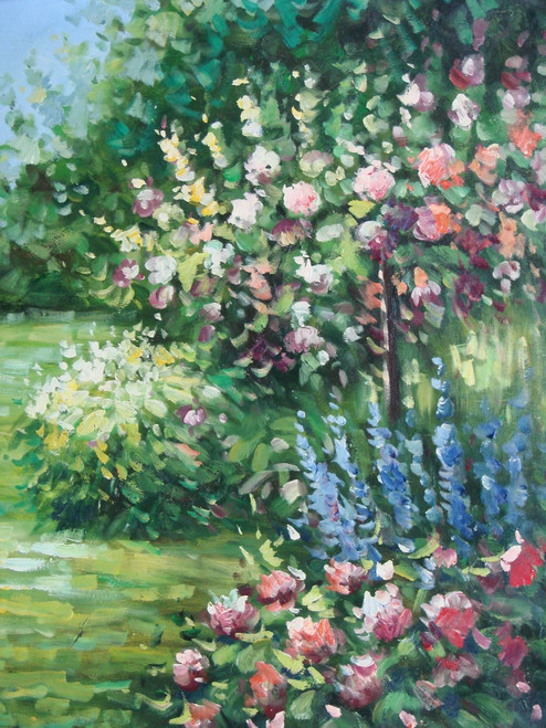 Beautiful painting on canvas, stretched but without frame, signed by Rene.  Bright blue and pink flowers bloom on green shrubs in a grassy area with green trees.