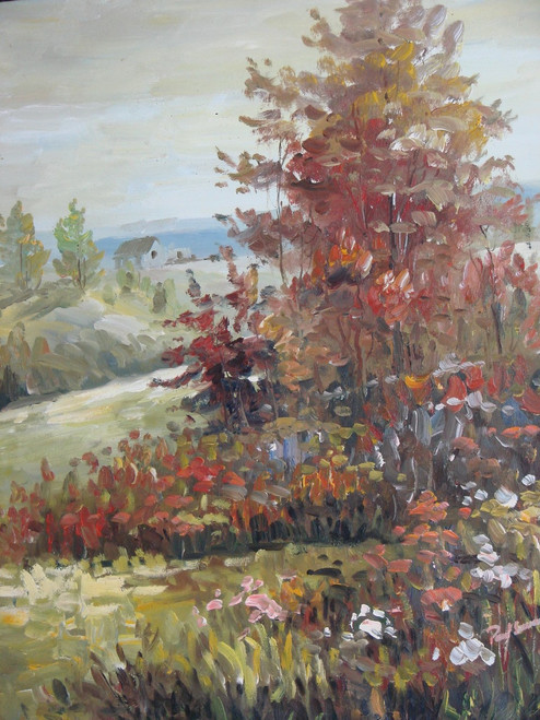 Beautiful painting on canvas, stretched but without frame, signed by Paul Seward.  Autumn leaves of red, orange and rust begin to take over a light green landscape with a cottage off in the distance.