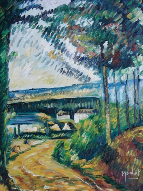 Beautiful painting on canvas, stretched but without frame, signed by Monbet.  A sandy, dirt path follows along a river with tall trees and small white houses and a bridge in the distance.