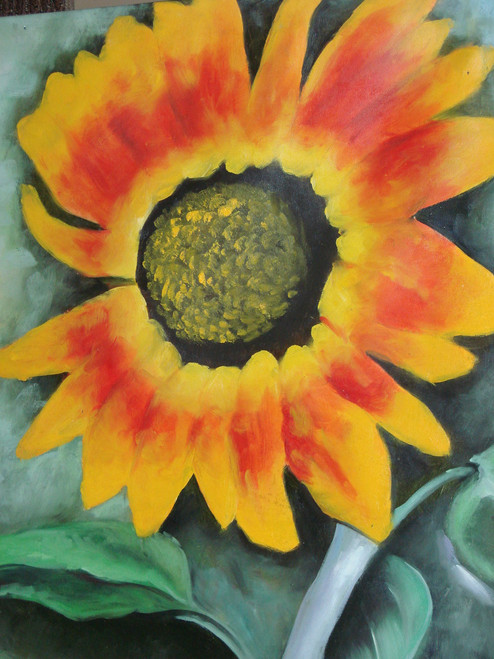 Beautiful medium sized painting on canvas, stretched but without frame, signed by Legrand.  A large orange and yellow flower with a dark brown center covers a dark green canvas.