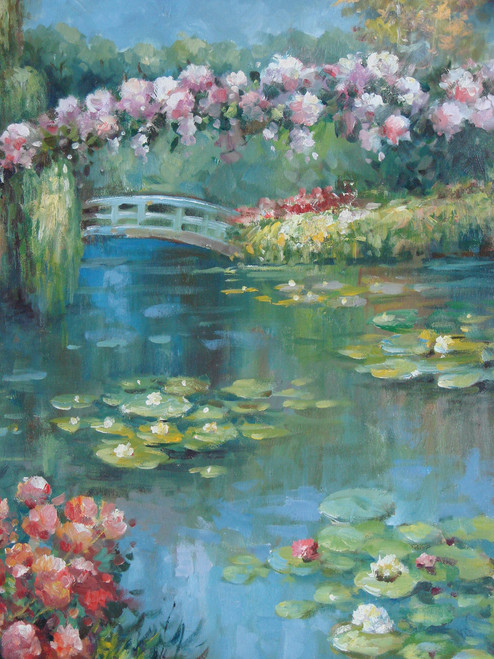 Beautiful painting on canvas, stretched but without frame, signed by Rene.  A lily pad filled pond with pink and purple flowers is surrounded by green trees with a small grey bridge.