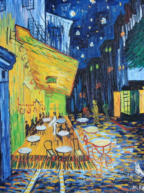 Beautiful medium sized painting on canvas, stretched but without frame, signed by Mickail.  A yellow cafe stands out in the night streets in this abstract landscape.