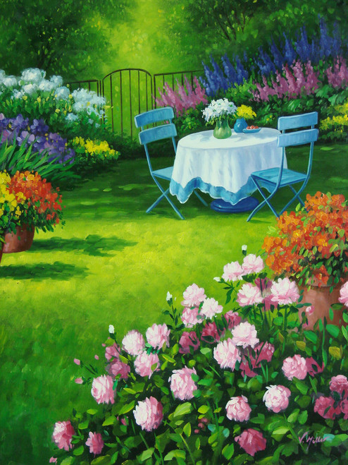 Beautiful medium sized painting on canvas, stretched but without frame, signed by V. Miller.  A small table for two is draped in a white cloth in a garden of pink, orange, blue, and purple flowers with bright green grass.