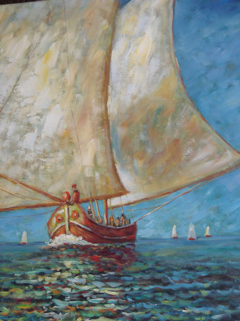 Beautiful medium sized painting on canvas, stretched but without frame, signed by Sandra Lepine.  A wooden ship with large white sails faded by the sun, navigates deep blue, wavy waters.