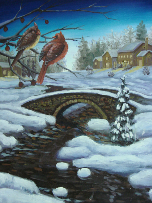 Beautiful medium sized painting on canvas, stretched but without frame, unsigned.  Two cardinals sit on a bare tree branch overlooking a snow-filled landscape with stone bridge.