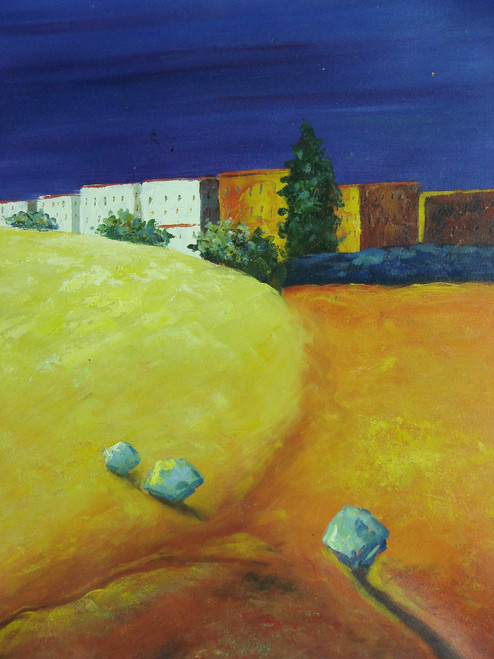 Beautiful medium sized painting on canvas, stretched but without frame, signed by J. Prame.  Multistory white and stucco buildings sit under a deep blue sky with a rolling clay colored landscape.