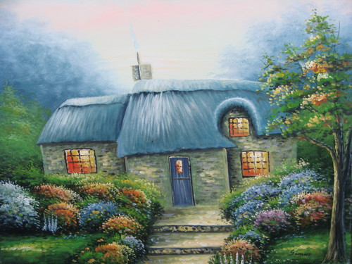 Beautiful painting on canvas, stretched but without frame, signed by Simon.  A Thomas Kinkade inspired stone cottage is surrounded by colorful flowering shrubs in this medium sized painting.