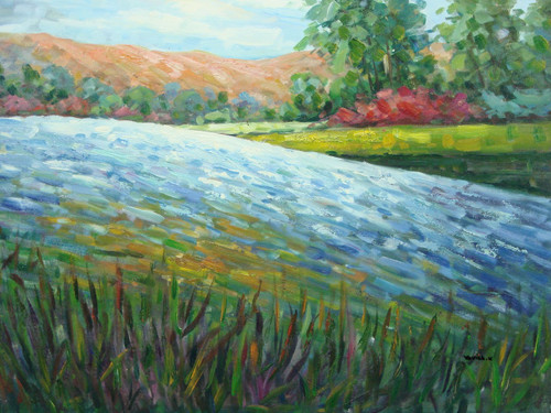 Beautiful medium sized painting on canvas, stretched but without frame, signed by Yovish K..  Cattails grow along a rushing blue river with brown mountains, tall green trees and red flowers on the other side.
