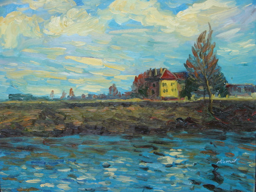 Beautiful medium sized painting on canvas, stretched but without frame, signed by Mickail.  A yellow and red building sits near the banks a white and blue water that is reflective of the cloudy sky above.