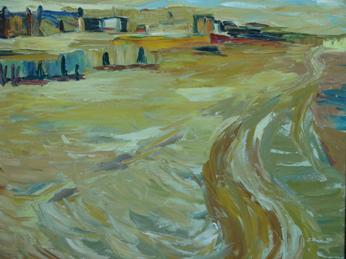 Beautiful medium sized painting on canvas, stretched but without frame, signed by J. Prame.  A sandy landscape hosts a small village of blue and brown homes.