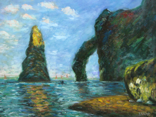 Beautiful medium sized painting on canvas, stretched but without frame, signed by Taylor.  Large grey rock formations sit in dark blue waters.