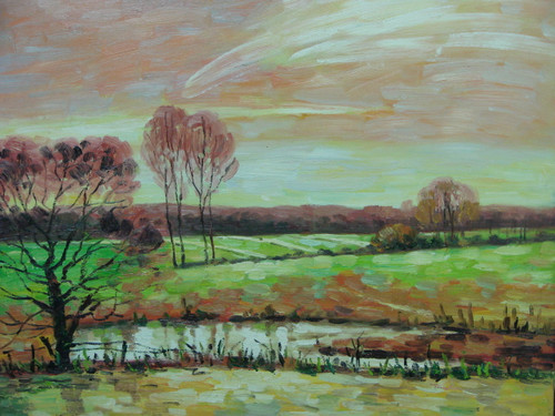 Beautiful medium sized painting on canvas, stretched but without frame, signed by Tanter.  Light pinks and oranges fill an autumn sky and reflect on the trees and field of light green.
