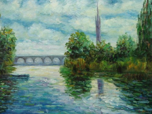 Beautiful medium sized painting on canvas, stretched but without frame, signed by Raspail.  A blue-green river flows through banks of green and yellow with tall trees. In the distance a bridge leads to a city with a tall grey spire.