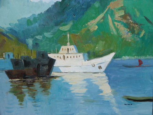 Beautiful medium sized painting on canvas, stretched but without frame, signed by Yovish K..  A large white yacht floats near a black barge in light blue water with green mountains in the background.