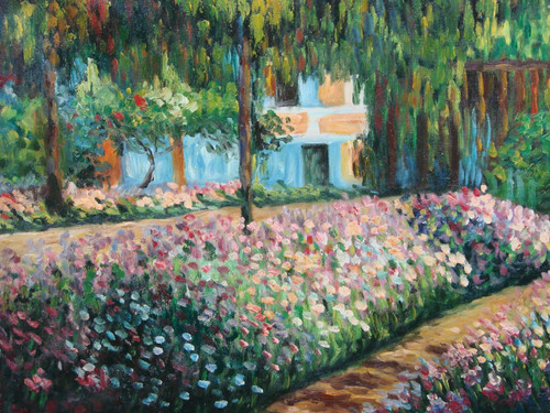 Beautiful painting on canvas, stretched but without frame, signed by Sandra Lepine.  Light pink, cream and blue flowers fill the lawn in front of a large white house hidden by tall green trees.