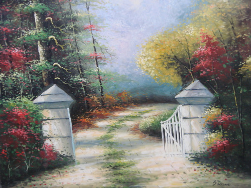 Beautiful painting on canvas, stretched but without frame, signed by Simon.  A dirt path with green grass growing down the middle winds through green, yellow and red leafed trees to an iron gate with white pillars.