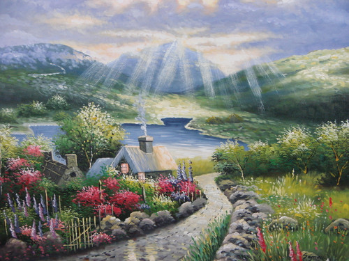 Beautiful painting on canvas, stretched but without frame, signed by Simon.  The sun shines down through white clouds on to a cottage with colorful flowers, rolling green hills, and blue water.