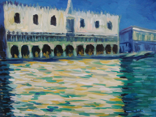 Beautiful medium sized painting on canvas, stretched but without frame, signed by Wally.  A large white building full of arches, reflects into blue-green water with a dark blue sky.