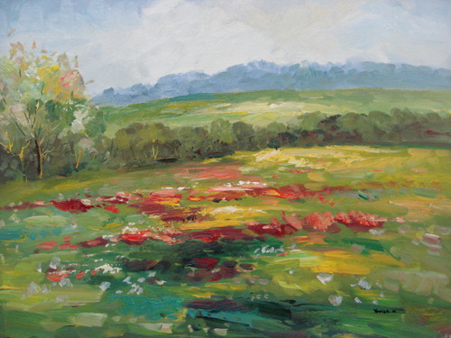 Beautiful painting on canvas, stretched but without frame, signed by Yovish K..  Blue, pink, yellow and red flowers grow in a field of green surrounded by trees under a blue-grey sky.