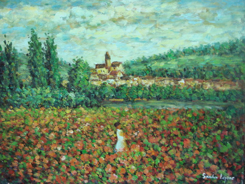 Beautiful painting on canvas, stretched but without frame, signed by Sandra Lepine.  On a cloudy day, a woman walks through a field of pink and green outside a small village surrounded by dark green trees.