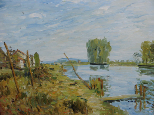 Beautiful painting on canvas, stretched but without frame, signed by Yovish K..  A reflective blue pond sits to the right of a tan and green grass filled field with an old wooden fence.