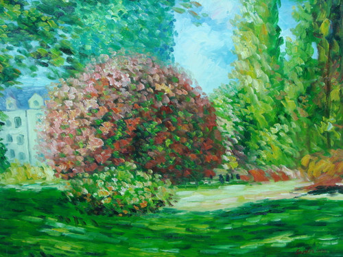 Beautiful painting on canvas, stretched but without frame, signed by Sandra Lepine.  A large flowering bush shrub with pink flowers surrounded by lush green grass and green trees.