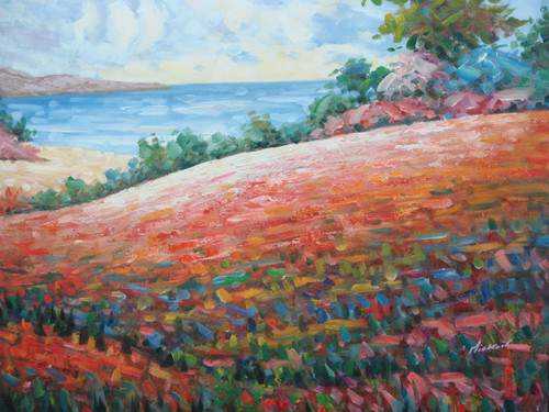 Beautiful medium sized painting on canvas, stretched but without frame, signed by Mickail.  Light red and pink filled hills cascade down to a small beach leading to light blue water.