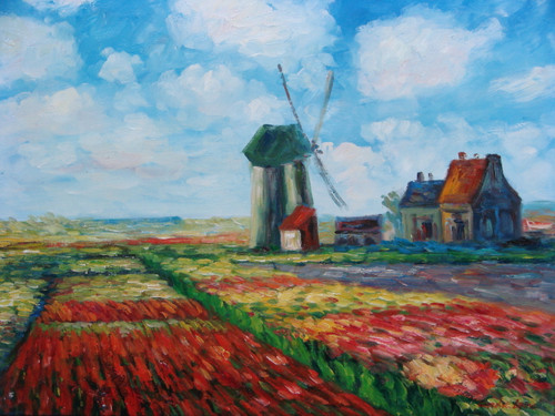 Beautiful medium sized painting on canvas, stretched but without frame, signed by Sandra Lepine.   A windmill and small barn sit in a colorful field of red, pink, green and yellow.