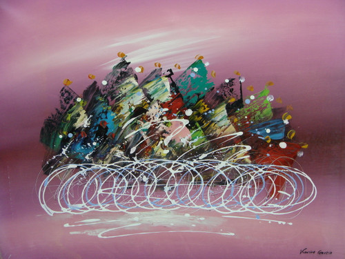 Beautiful medium sized painting on canvas, stretched but without frame, signed by Karine Garcia.  A central cluster of black, blue, green and red sit atop a pink background with swirled white accents.