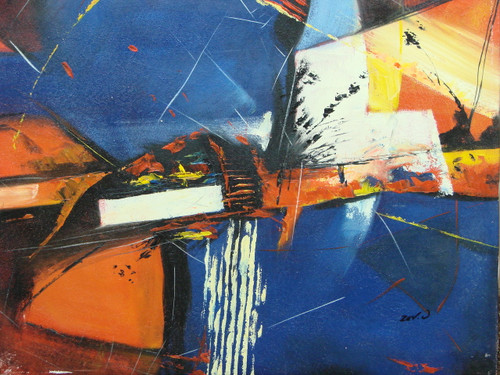 Beautiful painting on canvas, stretched but without frame, signed by Zev D..  Dark blue and orange abstract brush strokes are accented with white, black and yellow in this medium sized painting.