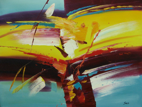 Beautiful painting on canvas, stretched but without frame, signed by San.  Brush strokes of sky blue, yellow, crimson and white overlap in this medium sized abstract.