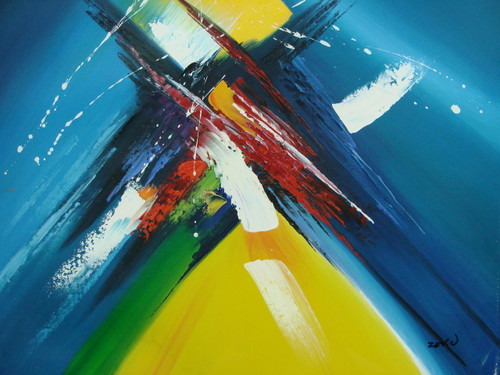 Beautiful painting on canvas, stretched but without frame, signed by Zev D..  Bands of bright blue are interrupted by strokes of bright yellow and white in this medium sized abstract.