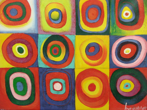 Beautiful medium sized painting on canvas, stretched but without frame, signed by Ron Mitchell.  Colorful squares of blue,  red, and yellow are filled with multiple circles of red, pink, orange, blue and green.