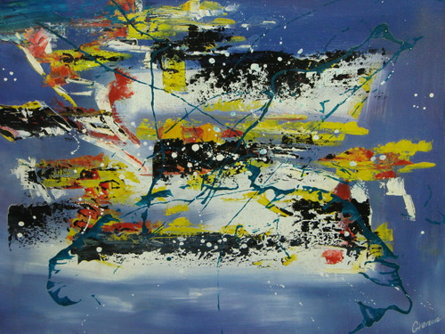 Beautiful medium sized painting on canvas, stretched but without frame, signed by Grenon.  A light blue background is covered in paint splashes of yellow, orange, black, white and navy.