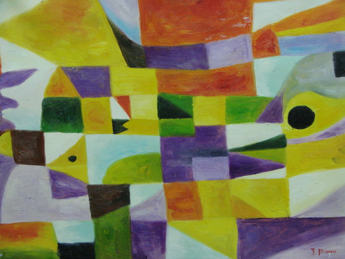 Beautiful medium sized painting on canvas, stretched but without frame, signed by J. Prame.  Overlapping squares and triangles of yellow, purple, orange, green and light blue fill this abstract.