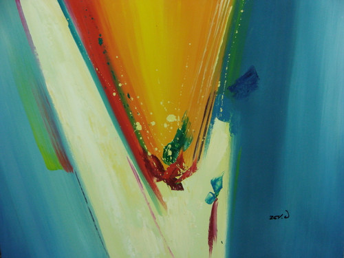 Beautiful painting on canvas, stretched but without frame, signed by Zev D..  Sky blue edges meet white and yellow brush strokes in the center of this medium sized abstract with red and green highlights.