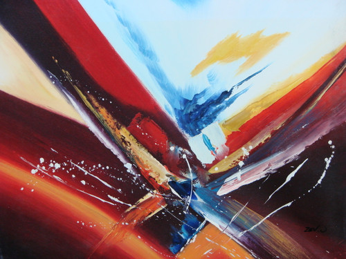 Beautiful painting on canvas, stretched but without frame, signed by Zev D..  A medium abstract painting contains strong red, orange and black brush strokes with accents of white, blue and yellow.