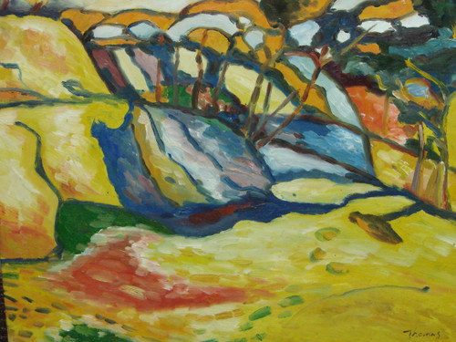 Beautiful painting on canvas, stretched but without frame, signed by Thomas.  A medium abstract landscape full of yellows, blues and greens.