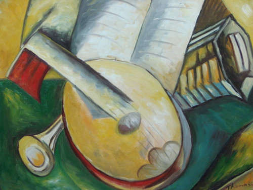 Beautiful medium sized painting on canvas, stretched but without frame, signed by Thomas.  Abstract musical instruments including a horn, accordion and mandolin sit atop a green and golden yellow background.