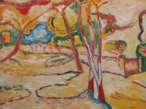 Beautiful medium sized painting on canvas, stretched but without frame, signed by Thomas.  An abstract landscape of tan and yellow containing red trees with blue leaves and accents of green.