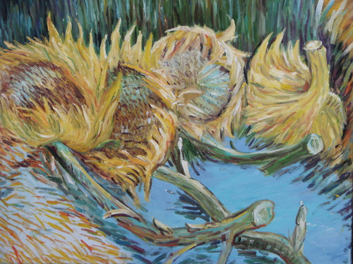 Beautiful medium sized painting on canvas, stretched but without frame, signed by Maucuso.  Cut yellow sunflowers rest their green and brown stems against a blue background.