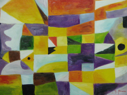 Beautiful painting on canvas, stretched but without frame, signed by J. Prame.  Abstract yellow, light purple, orange, green and light blue triangles and rectangles are pieced together in this medium sized painting.