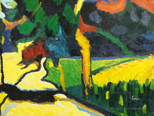 Beautiful small painting on canvas, stretched but without frame, signed by Courcois.  An abstract landscape of dark green, dark blue and yellow.