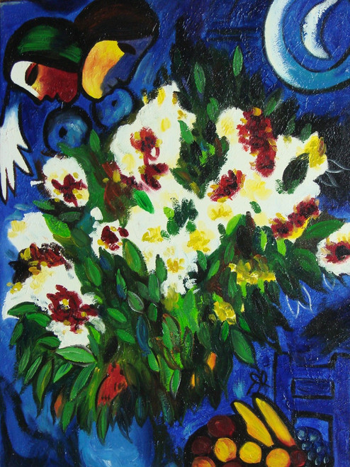 Beautiful small painting on canvas, stretched but without frame, signed by Danielle.  A bouquet of abstract white, crimson and yellow flowers are the focal point of a deep blue background with an abstract face and bowl of fruit in the corners.