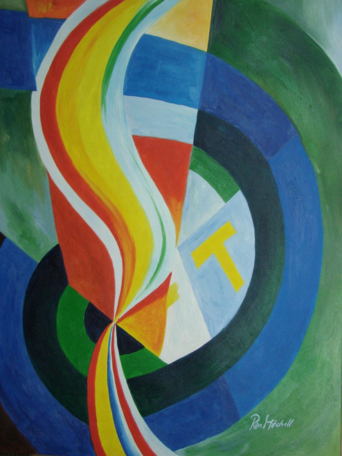 Beautiful large painting on canvas, stretched but without frame, signed by Ron Mitchell.  Green, blue and orange bands swirl together with accents of yellow, and white.
